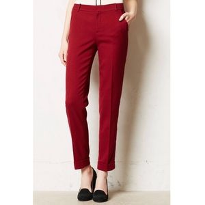 Anthropologie Cartonnier Lou Taper Red Trousers